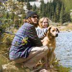 Couple and Dog at Lake